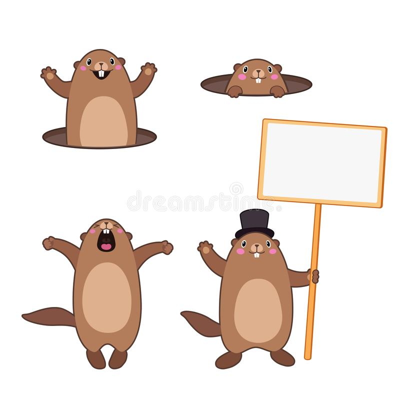 Set of groundhog popping out of his hole and holding a blank sign board. Cartoon outlines royalty free illustration