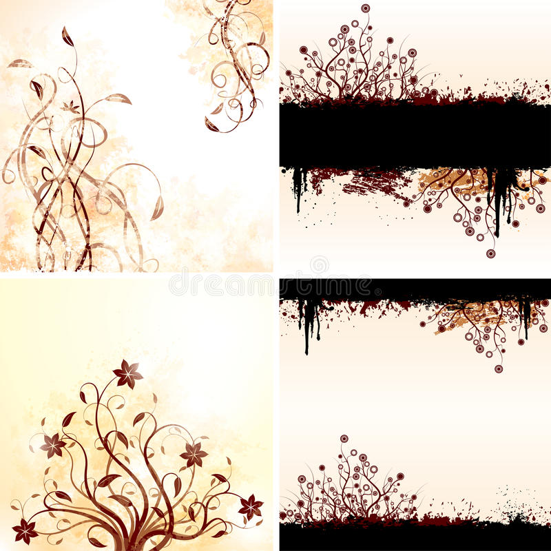 Vector set of grunge floral backgrounds royalty free illustration