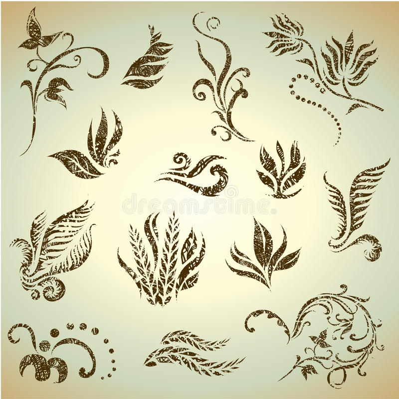 Download Vector Set Of Grunge Leafs And Flowers Stock Vector - Image: 15620888