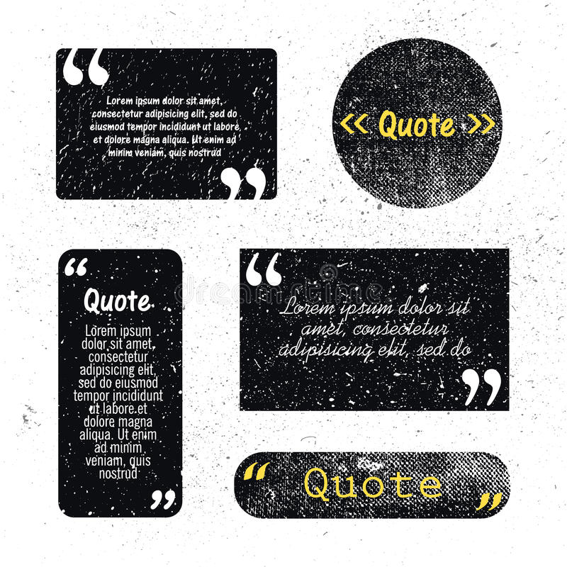 Vector set of grunge textured quote bubbles, space royalty free illustration