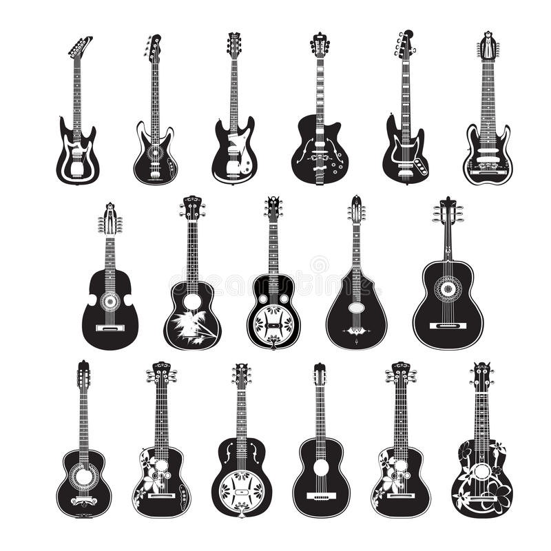Vector set of guitars in flat style stock photos