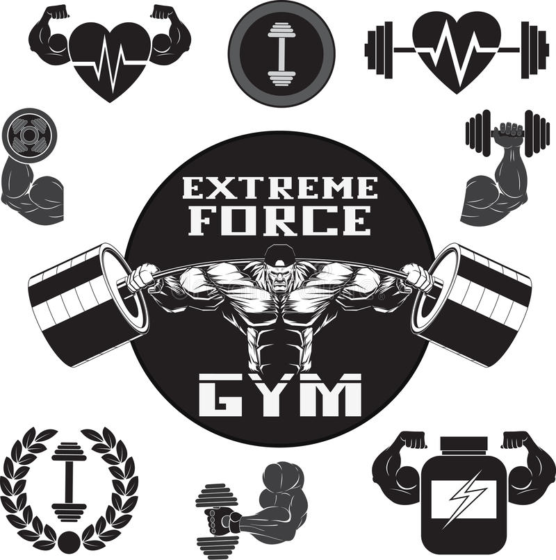 Vector set: gym. Vector Set: Weight Lifting, Labels and Stickers gymset, Gym royalty free illustration