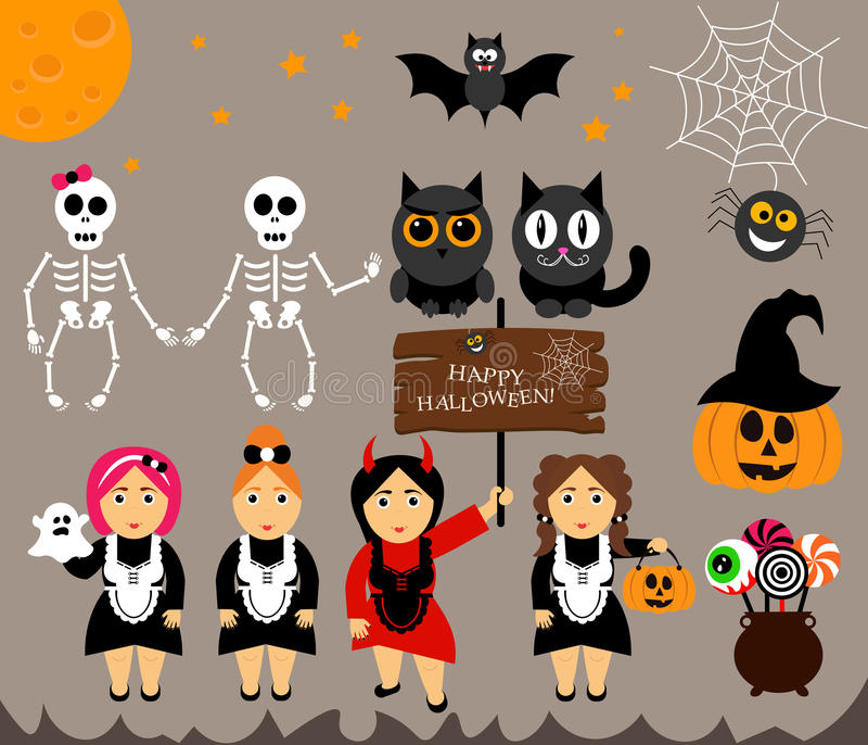 Vector set for Halloween in cartoon style. Pumpkin, ghost, candy, cauldron, owl, bat, web, skeleton. Girl in costumes. stock illustration