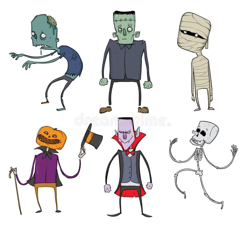 Vector Set of Halloween characters. Zombie, skeleton, mummy, Dracula and other scary monsters. Illustration, isolated on stock illustration
