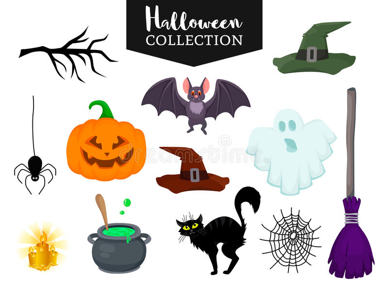 Vector set of Halloween hand drawn flat cartoon objects. Magic hat witch broom, black cat, bat, ghost, pumpkin, small spider near web,candle, branch, bowler royalty free illustration