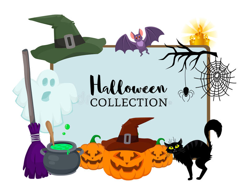 Vector set of Halloween hand drawn flat cartoon objects. Magic hat witch broom, black cat, bat, ghost, pumpkin, small spider near web,candle, branch, bowler vector illustration