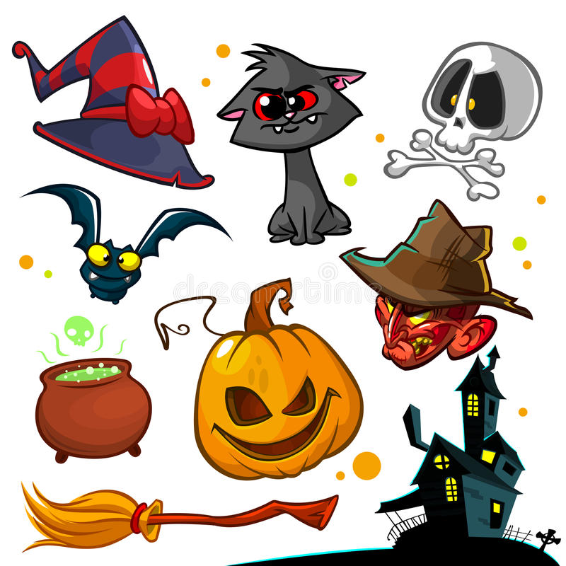 Vector set of Halloween pumpkin and attributes icons. Witch cat, pumpkin head, skull, witch hat, poison pot and haunted house stock illustration