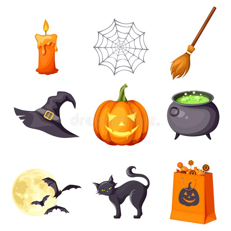 Vector set of Halloween symbols. vector illustration