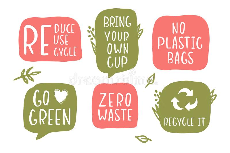 Vector set of hand-drawing inscriptions on a theme Zero Waste. It can be used for cards, brochures, poster, t-shirts, mugs and other promotional materials stock illustration