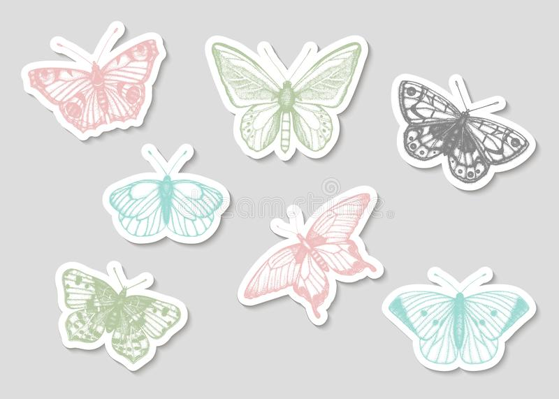Vector set of hand drawn black and white stickers with butterflies royalty free illustration