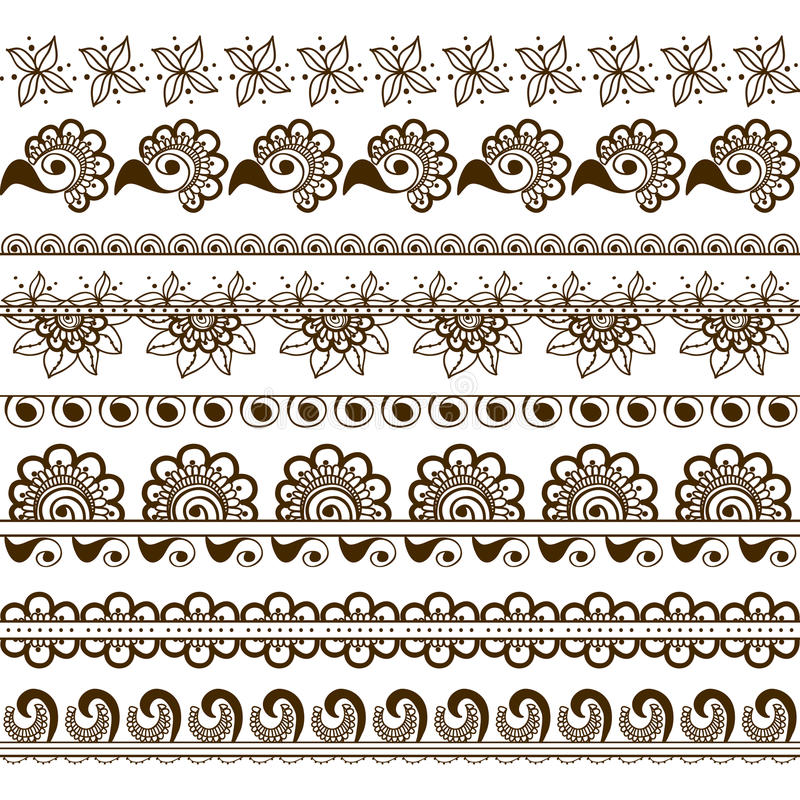 Vector set of hand drawn borders in ethnic indian style. Collection of pattern brushes inside royalty free illustration