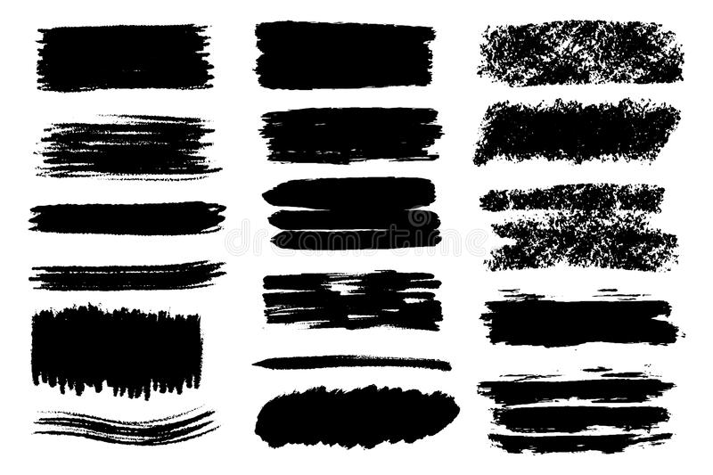 Vector set of hand drawn brush strokes and stains. One color monochrome artistic hand drawn backgrounds. royalty free illustration