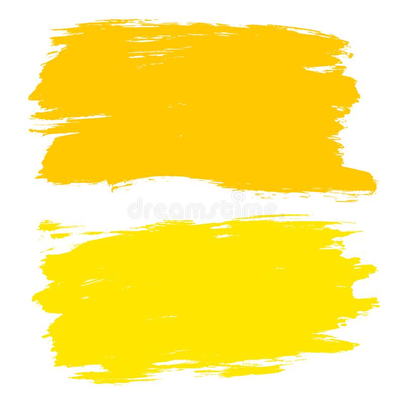 Vector set of hand drawn brush strokes, stains. Yellow color artistic hand drawn backgrounds. royalty free illustration