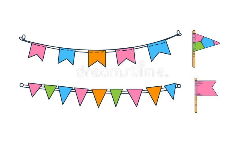 Vector set of hand drawn bunting flags. Holiday decor. Colorful garlands. Festive decorations stock illustration