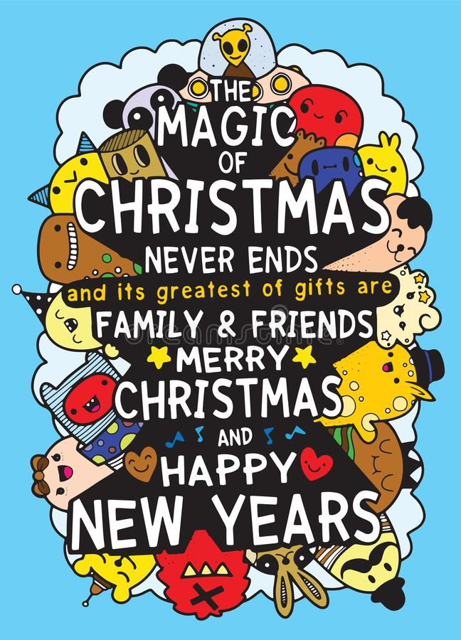 Vector set of hand drawn of Christmas greeting cards stock illustration