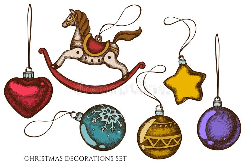 Vector set of hand drawn colored decorations, toy horse vector illustration