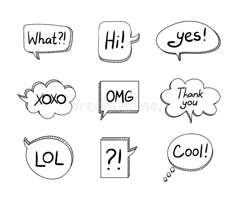 Vector Set of Hand Drawn 3D Cartoon Talk Bubbles Isolated on White Background, Black Elements. stock illustration