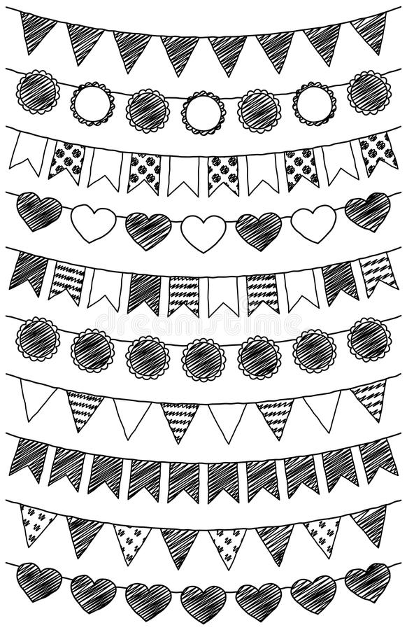 Vector Set of Hand Drawn Doodle Bunting stock illustration