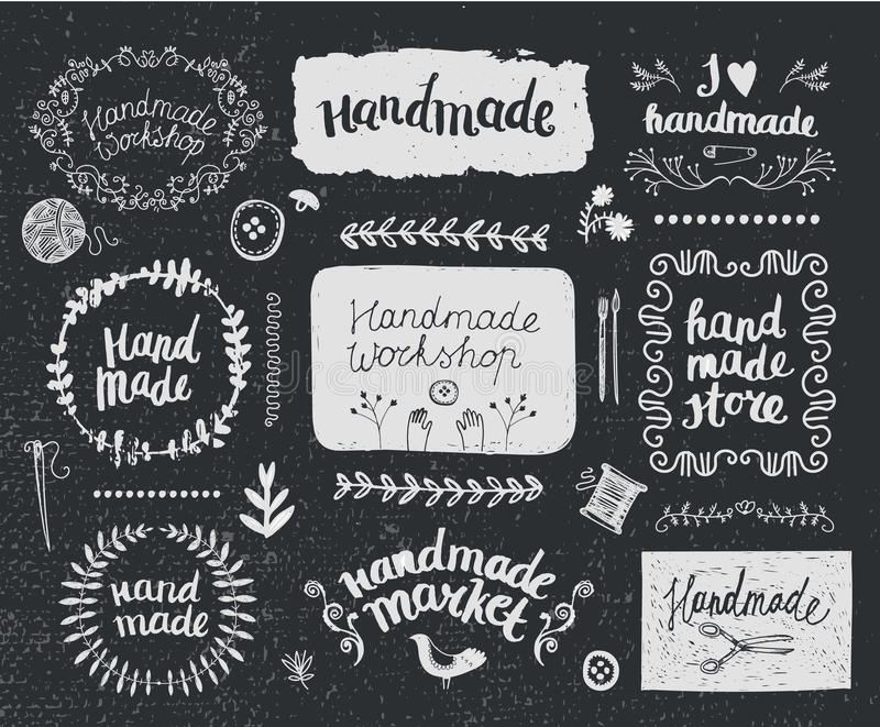 Vector set of hand drawn doodle frames badges. Handmade, workshop royalty free illustration