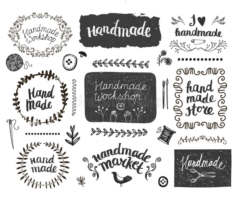 Vector set of hand drawn doodle frames badges. Handmade, workshop vector illustration