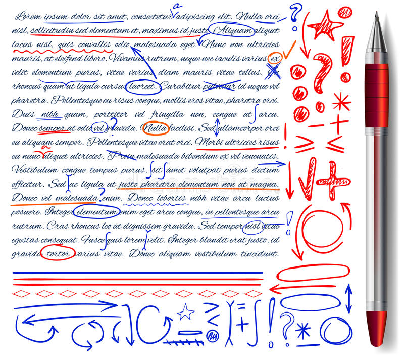 VECTOR set of hand drawn doodle icons and realistic pen. Elements set. Red, orange and blue colors. VECTOR set of hand drawn doodle icons and realistic pen stock illustration