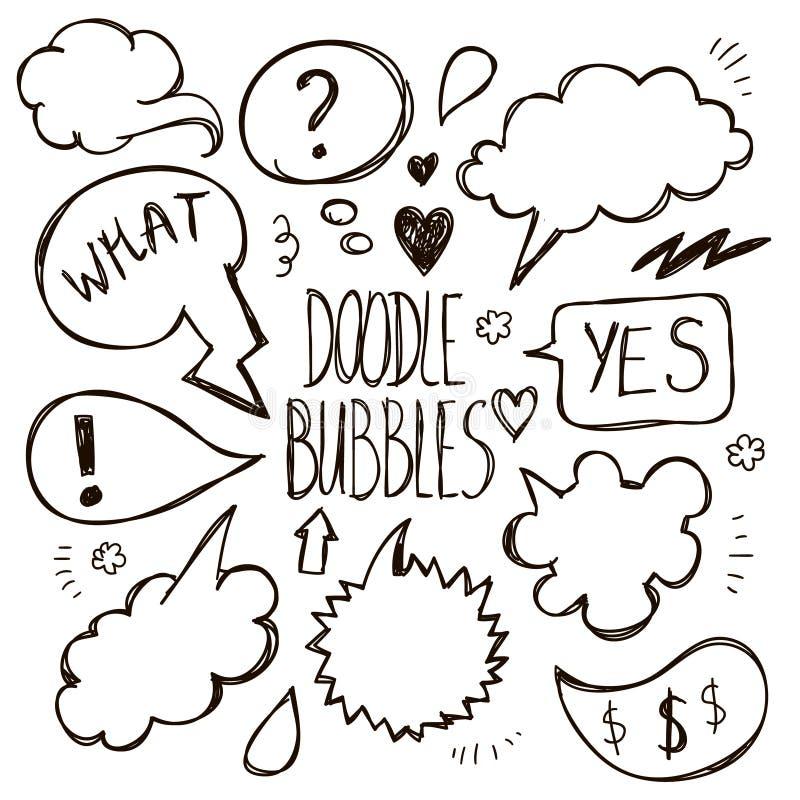 Vector set of hand drawn, doodle speech bubbles. stock illustration