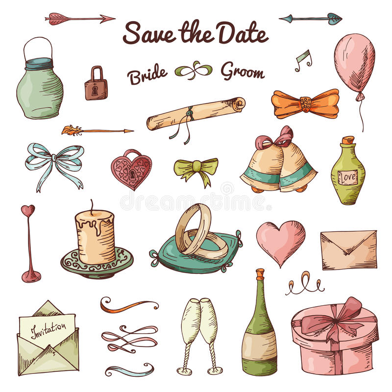 Vector set of hand drawn elements. Doodle love collection. Set of icons for Valentine's Day vector illustration