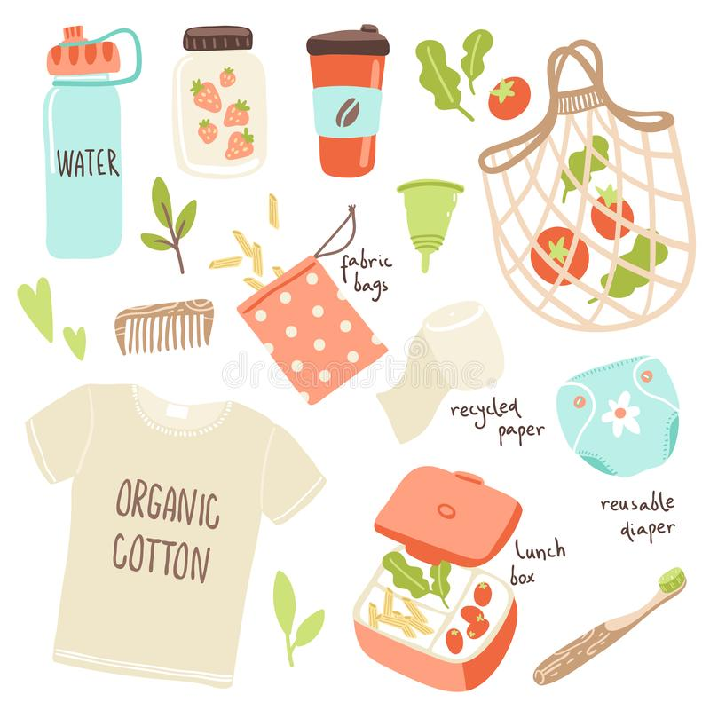 Vector set with hand drawn elements of zero waste life. No plastic. Go green. Stop pollution stock illustration
