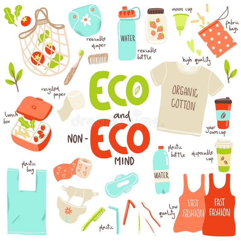 Vector set with hand drawn elements of zero waste life and non-eco mind elements. Stop pollution concept stock illustration
