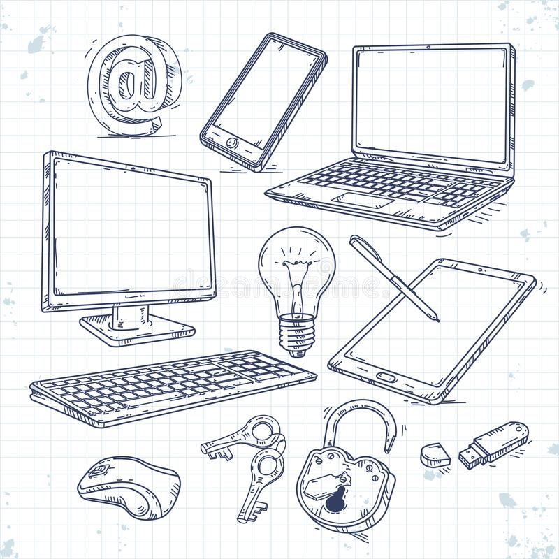 Vector set of hand drawn icons computer technology. Computer, laptop, tablet, smartphone, lock light royalty free illustration