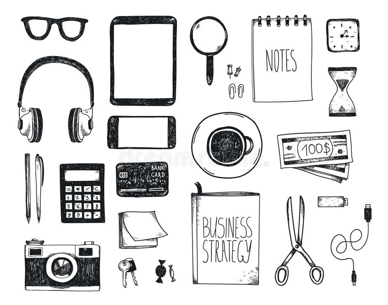 Vector set of hand drawn office tools. Freelance, tools for making business online, entrepreneur. Mock up, top view. Black and white stock illustration