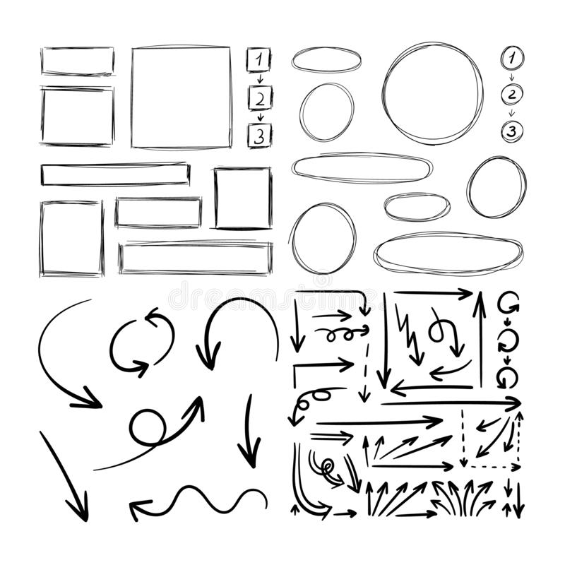 Vector Set of Hand Drawn Scribble Drawings, Illustration Isolated on White Background, Black Rough Lines, Blank Frames, Arrows. Vector Set of Hand Drawn royalty free illustration
