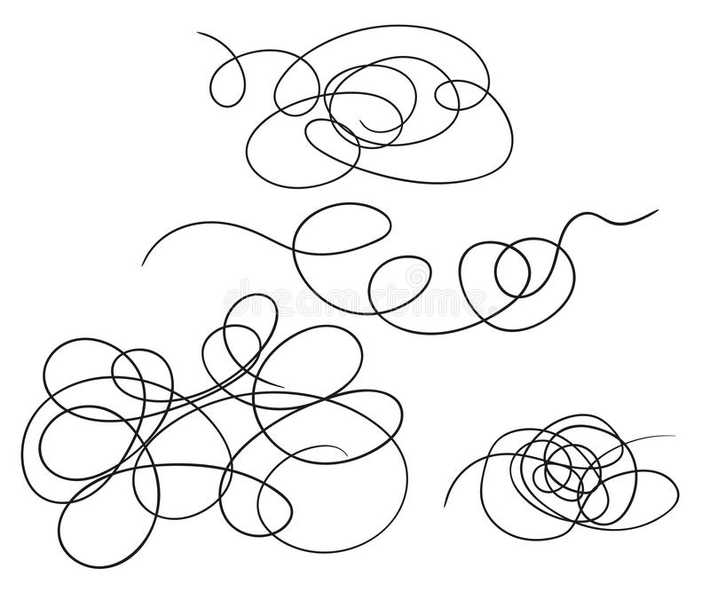 Vector set of hand-drawn scribble line shape. Sketch style Doodle. Vector elements isolated on light background. vector illustration