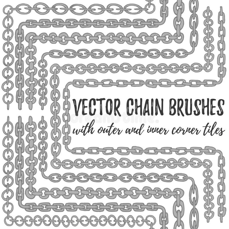 Vector set of 6 hand drawn silver Chain brushes royalty free illustration
