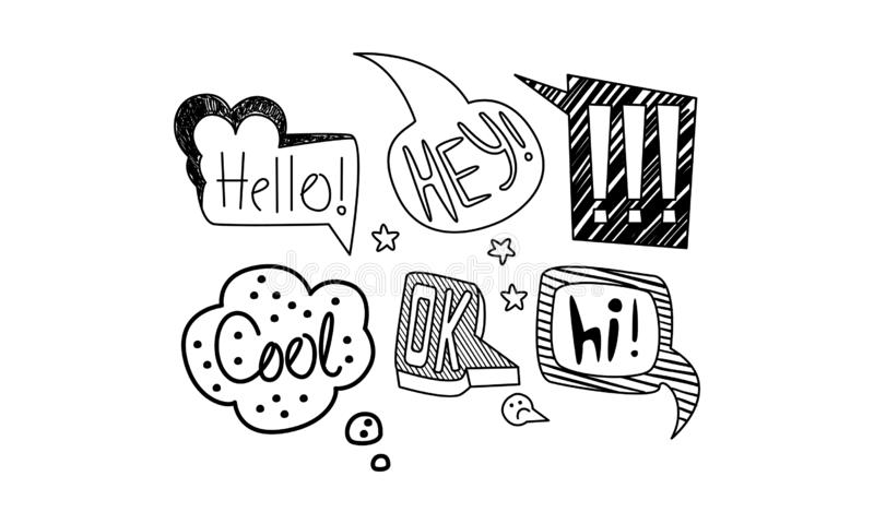 Vector set of hand drawn speech bubbles with short messages. Dialog clouds with text. Internet chat words. Collection of different hand drawn speech bubbles with royalty free illustration