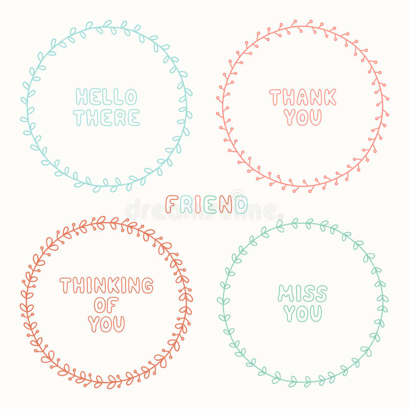 Vector set of hand drawn style badges and elements stock illustration