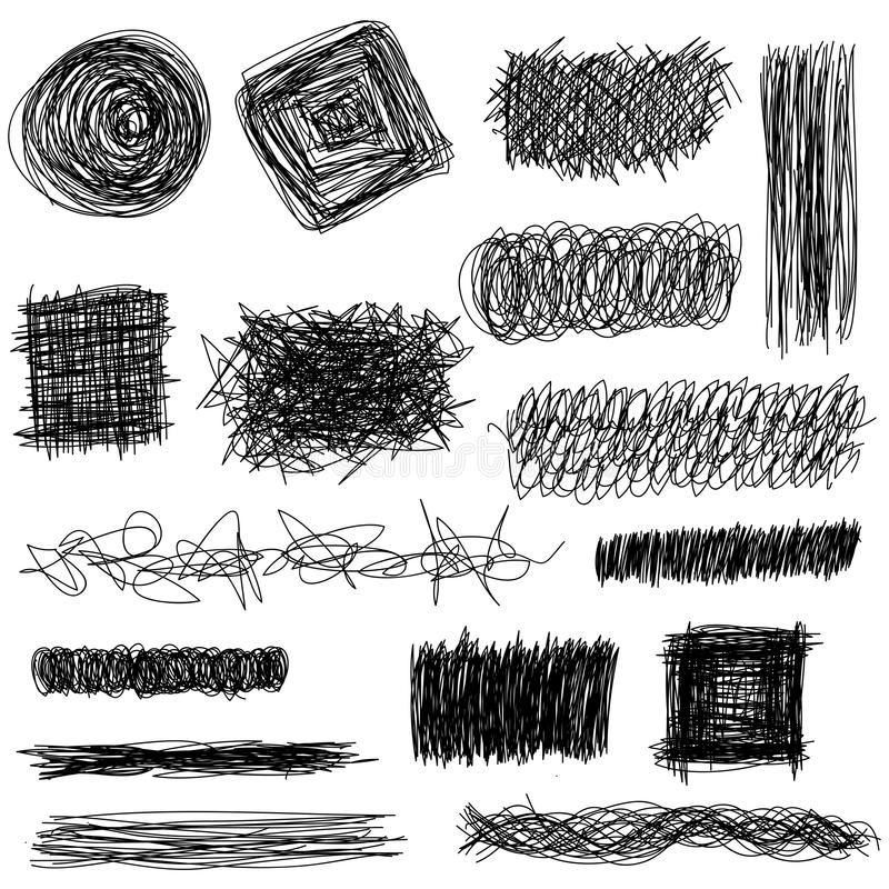 Vector set hand drawn textures, scribbles of pen, hatching. Vector set hand drawn textures, scribbles of pen, hatching, scratch stock illustration