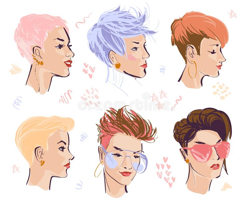 Vector set of hand drawn young beautiful ladies with modern pixie cut in different shapes isolated on white background. royalty free illustration