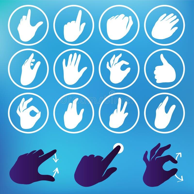 Vector set of hand icons. Touchscreen interface illustration stock illustration