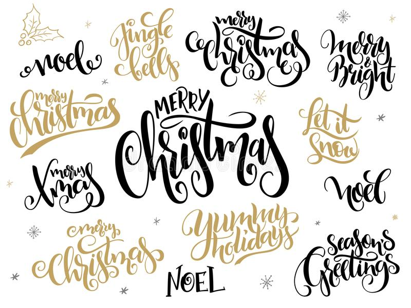 Vector set of hand lettering christmas greetings phrases merry download vector set of hand lettering christmas greetings phrases merry christmas with holly leaves m4hsunfo