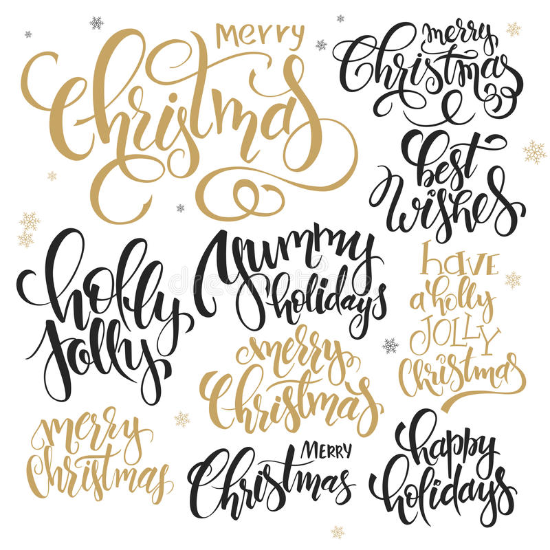 Vector set of hand lettering christmas quotes - merry christmas, holly jolly and others, written in various styles vector illustration