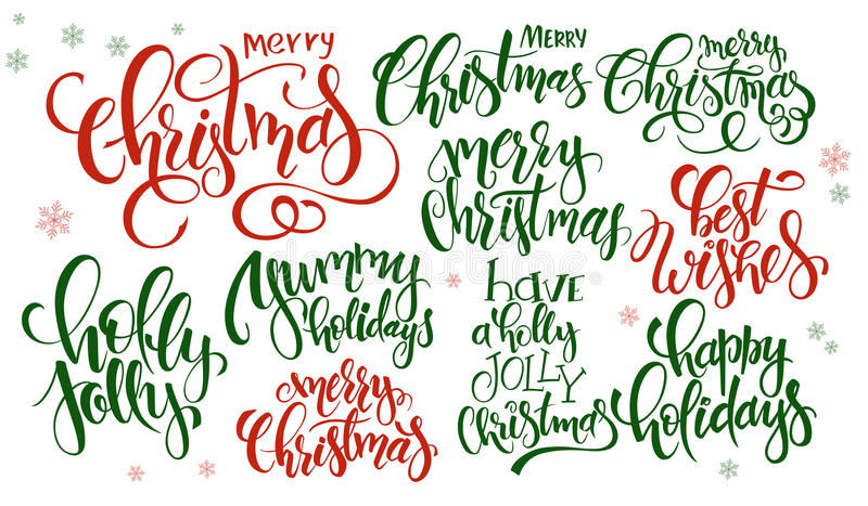 Vector set of hand lettering christmas quotes - merry christmas, holly jolly and others, written in various styles stock illustration