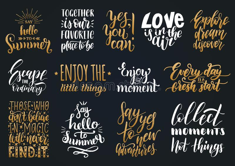 Vector Set Of Hand Lettering With Motivational Phrases ...