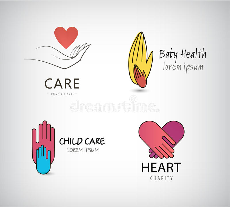 Vector set of hand logos, care vector illustration