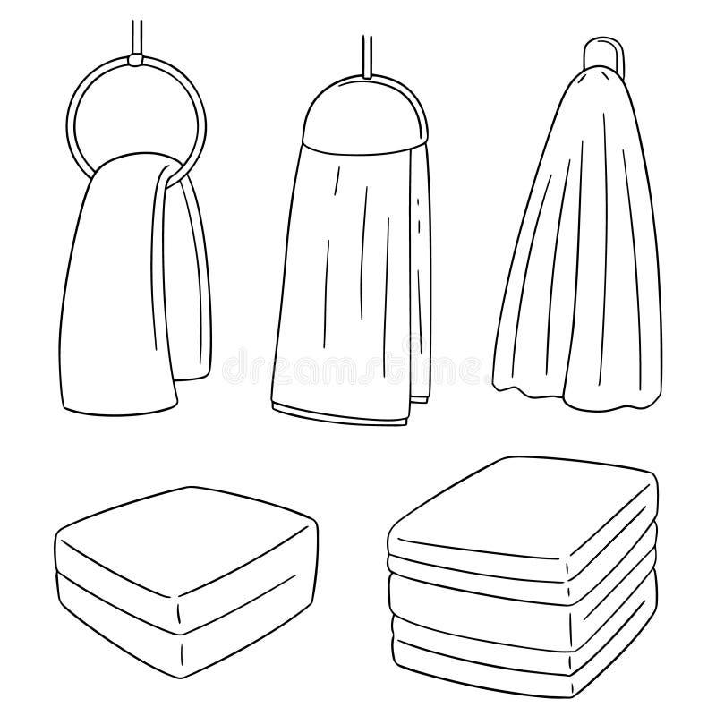 Vector set of hand towel stock illustration