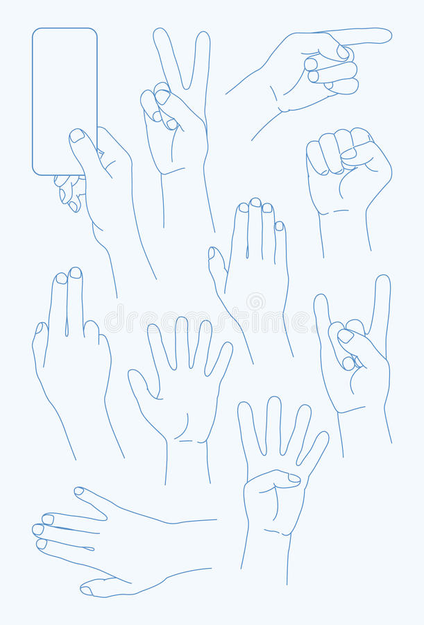 Vector set Hands Icons - Illustration royalty free illustration