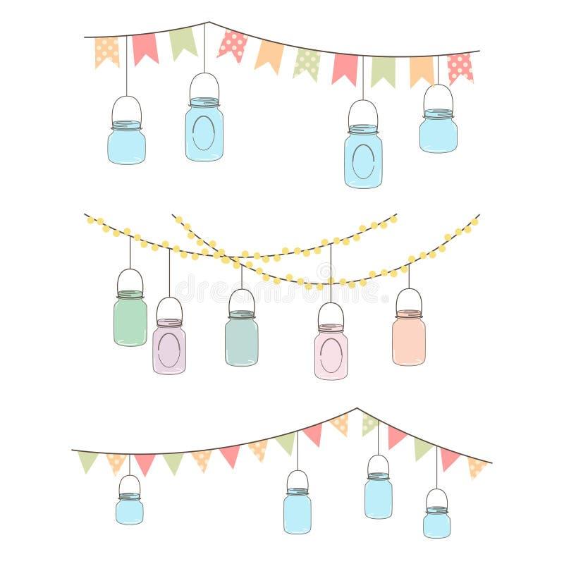 Vector Set of Hanging Glass Jar Lights royalty free illustration