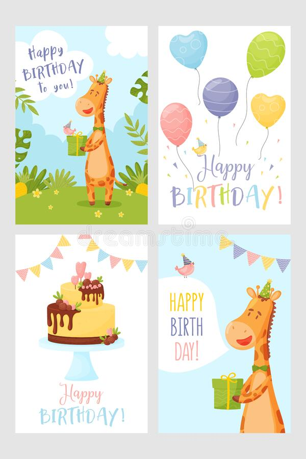 Vector set of happy birthday greeting card stock photography