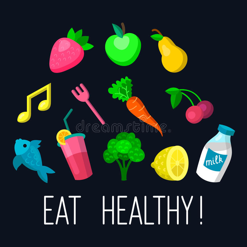Vector set of healthy food icons and text Eat Healthy. Can be used for banner, card, poster, invitation, label etc. Vector set of healthy food icons and text vector illustration
