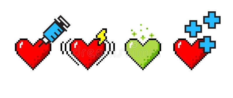 Vector set of 4 hearts vector illustration